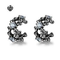 Silver Ear Cuff Non-Piercing crystal Earrings Stainless Steel Gothic unisex