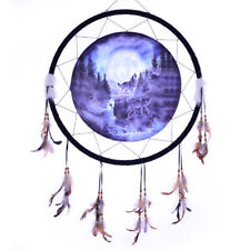 """Giant 26"""" Moon Wolf Wolves Night Woods Forest Scene Dream Catcher Feathers 2658"""