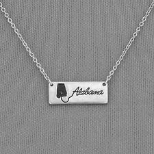 Silver Chain Vintage Chic Simple State Of Alabama Bar Pendant Necklace