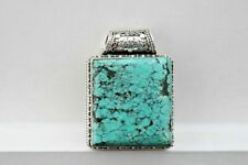 Sterling Silver Massive Turquoise Pendant Native American Style Southwestern