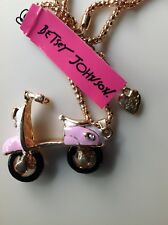 "CALIFORNIA PINK VESPA/SCOOTER 28"" Pendant Necklace Betsey Johnson"