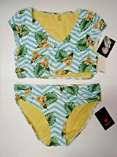 Marilyn Monroe Swim Womens Large Tropical Chevron Wrap Top Bikini Swimsuit New