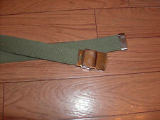 """U.S MILITARY STYLE OD GREEN WEB BELT WITH SILVER PLATED CHROME BUCKLE 54"""" INCHES"""