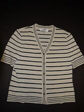St. John Collection Marie Gray 2004 Ivory Navy Nautical Striped Cardigan 6 EUC