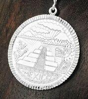 Large 2 inch Quetzalcoatl Pyramid Pendant Taxco Mexico