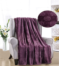 French Collection Luxurious™ Soft Throw Blanket Cover Embossed Elephant Pattern