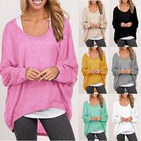 P/D: Damen Strick Bluse Sweatshirt Pullover Locker Asymmetrisch Oversize M8589