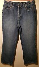 Venezia Jeans Women Size 18 Boot Cut Blue Flat Front Bling
