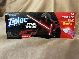 Star Wars Ziploc 30 storage quart slider bags Walt Disney George Lucas movie tv