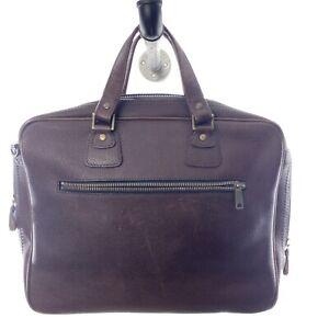 Jack Spade Warren Street Red Leather Textured Oxblood Lined Laptop Brief Bag