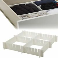 6pc Adjustable Drawer Organizer Many Compartments Storage Kitchen Bedroom Strong