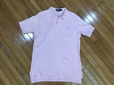 RALPH LAUREN Men's Pink Polo Shirt Baby Blue Pony Size L