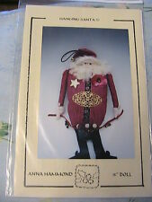 "PRIMITIVE SANTA HANGING DOLL~Anna Hammond OOP 2001~15"" cloth art doll pattern"