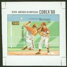 Nicaragua 1988 Olympics 100cor Baseball SS IMPERF PROOF