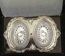 Vintage Hong Kong 1960s Silver Plated Server with Glass Trays