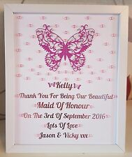 Personalised Framed Butterfly Maid Of Honour/Chief/Bridesmaid Thank You Gift