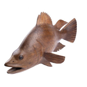 Wooden Freshwater Fish Hand Carved Ornament Home Decor.