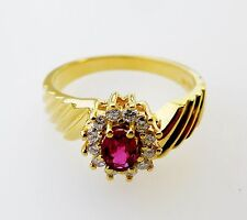 14KT YELLOW GOLD DAZZLING! LADIES RUBY AND DIAMONDS RING (10686R)