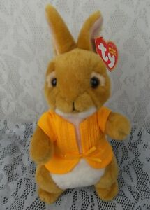 "Ty 2018 Peter Rabbit MOPSY Bunny Tan White Yellow Coat 8"" Plush Stuffed Animal"