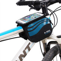 KQ_ Mountain Bike Top Tube Bag Storage Pouch Accessories for 5.7 Inch Phone Late