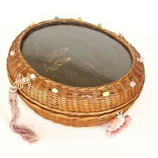 Antique Woven Sewing Basket with Glass Beading Around Top Edge Etching Flat Tops