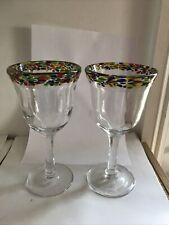 More details for two art deco wine goblet glasses hand blow excellent ~250ml ~380g each