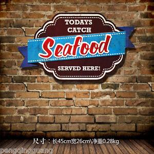 Vintage Tin Metal Signs Seafood Hanging Plate Restaurant Shop Art Wall Decor