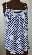 TOPSHOP Pretty white & blue stripe heart strap women's top sz 8 70s summer party