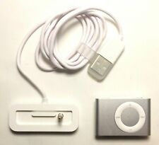 Apple iPod Shuffle 2nd Gen - 1GB - Silver - A1204 MA564LL/A w/ Charging Dock