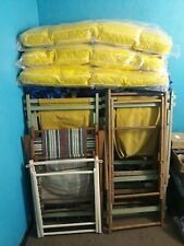 LOT Of Beach Folding Lawn Chairs Sand Patio Camping Vintage Wooden Frame