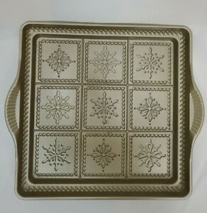 Nordic Ware 9' Inch Square Cast Aluminum Snowflake Shortbread Cookie Baking Pan