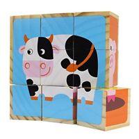 Professor Poplar's Barnyard Animals Stacking Wood Puzzle Blocks