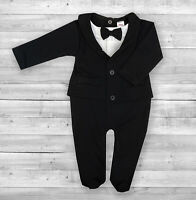 Baby Boy Black All-in-One Suit Wedding Christening Formal Party Smart Outfit