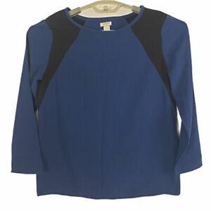 J Crew Women's Blouse Size 2 Long Sleeves Blue & Black