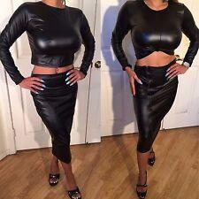 Connie's Faux leather 2 pc Set Black Skirt & Reversible Tie Black Crop Top  M