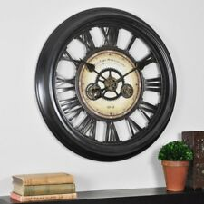 Round Wall Clock Big Gear Antique Vintage 24-In Analog Bronze Living Room Large