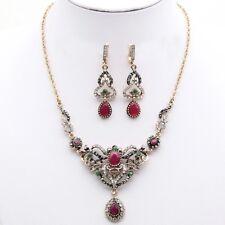 Women Turkish Necklace Earrings Jewelry Sets Pink Stone Islamic Vintage Fashion