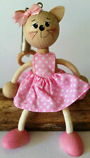 HANDMADE WOODEN BOUNCY PUPPET PINK CAT SPRINGY DECORATION TOY MOBILE GIFT
