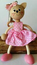 De Madera Artesanal Inflables Marioneta Gato Rosado elásticos Decoración Juguete Móvil De Regalo