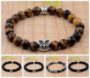 Charm Men's 8MM Natural Tiger Eye Stone Silver Owl Fashion Adjustable Bracelets