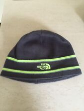 The North Face Logo Beanie Graphite Grey Green Knit Cap Hat Youth Med Kids