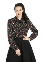 Hell Bunny Bisous Lipstick Pinup Retro Vintage 50's Long Sleeve Blouse Shirt Top