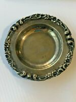 Antique Sterling Silver 925 Baroque Scroll Butter Pat Coin Tray Del Fila Peru B2