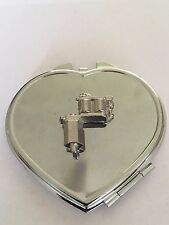 Tattoo Gun TG55 Fine English Pewter on Heart Shape Compact Mirror