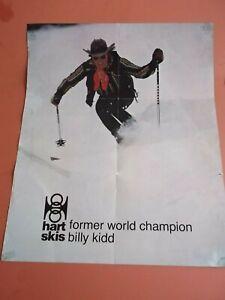 VINTAGE SKI POSTER BILLY KIDD HART SKIS FREESTYLE WORLD CHAMPION NO RESERVE
