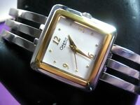 BULOVA CARAVELLE 45L100 LADIES CASUAL WATCH SILVER DIAL S/S & GOLD PLATED ANALOG