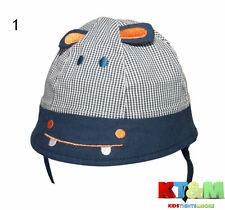"""Baby Toddler Boy Summer 100%Cotton Beach Hat Cap Chin Straps """"Hippo"""" Size 2-6m"""