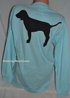 Victoria's Secret PINK Campus Pocket Dog Tee Shirt Logo Blue Black Long Sleeve M