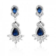 GORGEOUS 18K WHITE GOLD PLATED GENUINE SAPPHIRE CUBIC ZIRCONIA DANGLE EARRINGS