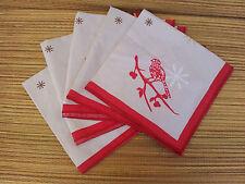 Lot de 5 serviettes de table imprimés déco oiseaux, linge ancien, french antique